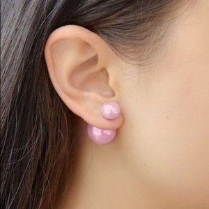 Beautiful Pink Reversible Double Pearl Earrings.